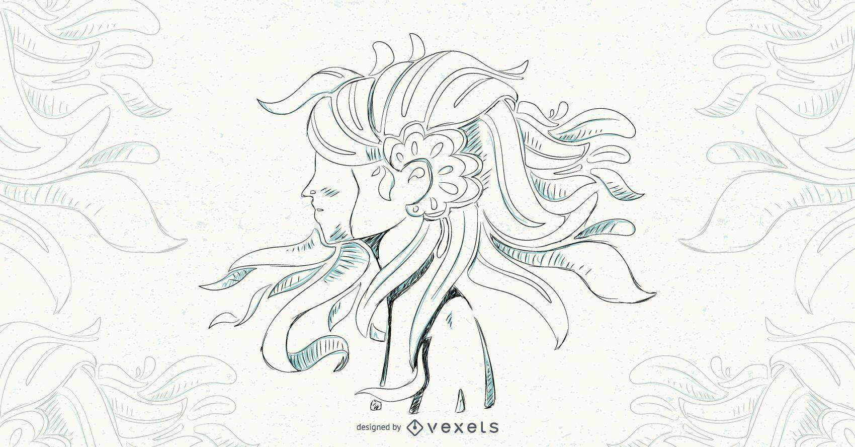 Ilustración de vector de pelo floral de niña