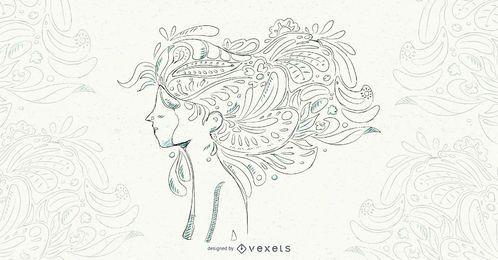 Ilustração em vetor cabelo floral mulher