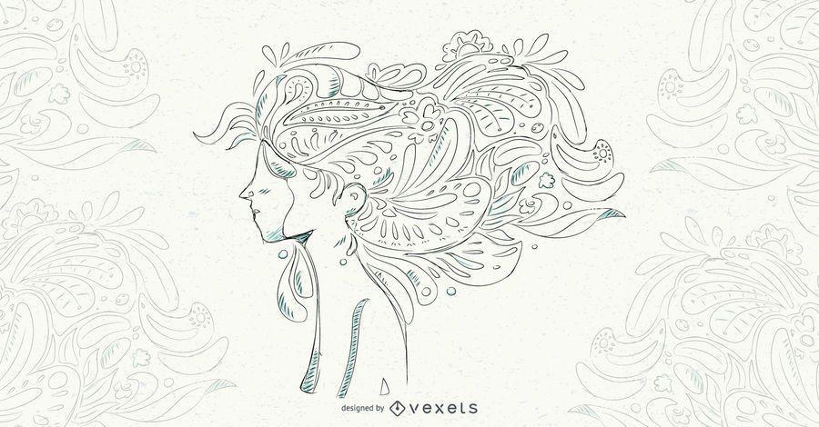 Ilustración de Vector de cabello floral mujer