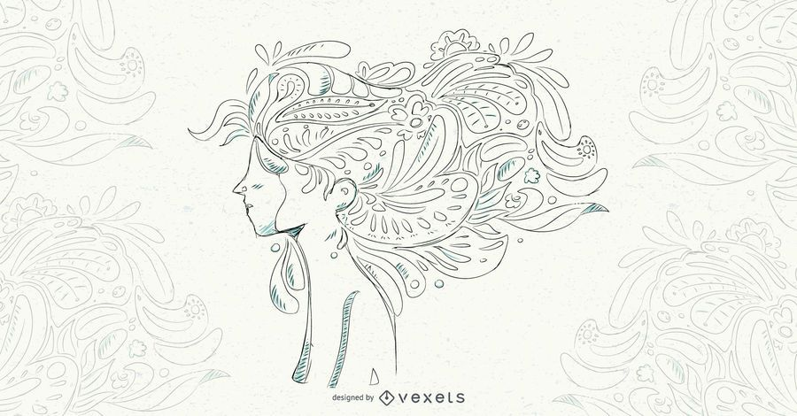 Woman Floral Hair Vector Illustration