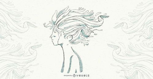 Boy Floral Hair Vector Illustration