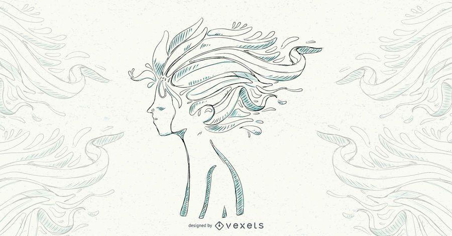 Ilustración de Vector de cabello floral niño