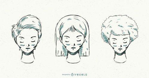 Conjunto de vetores de penteados desenhados à mão