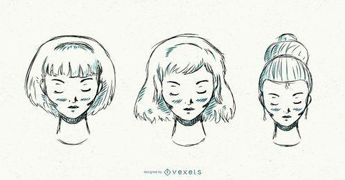 Conjunto de penteados de mão desenhada