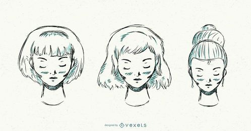 Hand drawn set of hairstyles