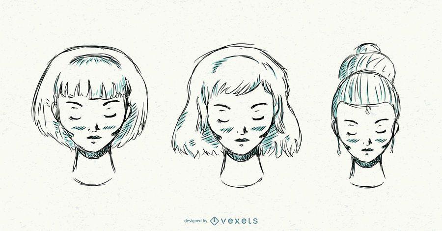 Conjunto de peinados dibujados a mano