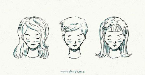 Conjunto de mulheres de salão de mão desenhada