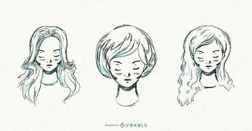 Conjunto de peinados de mujer dibujados a mano