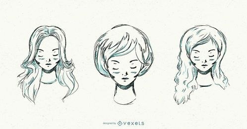 Conjunto de penteados de mulheres de mão desenhada