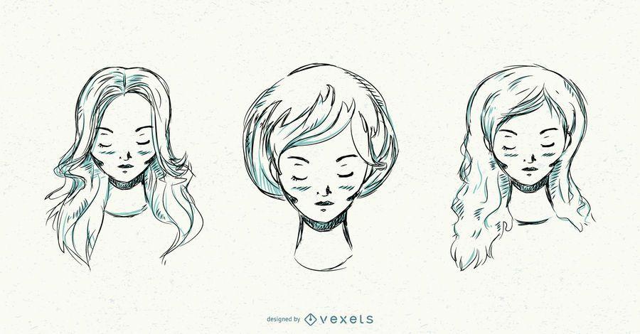 Hand drawn women hairstyles set