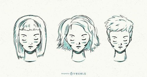 Mujeres de peinado corto dibujado a mano