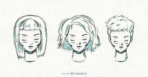 Penteado curto mão desenhadas mulheres