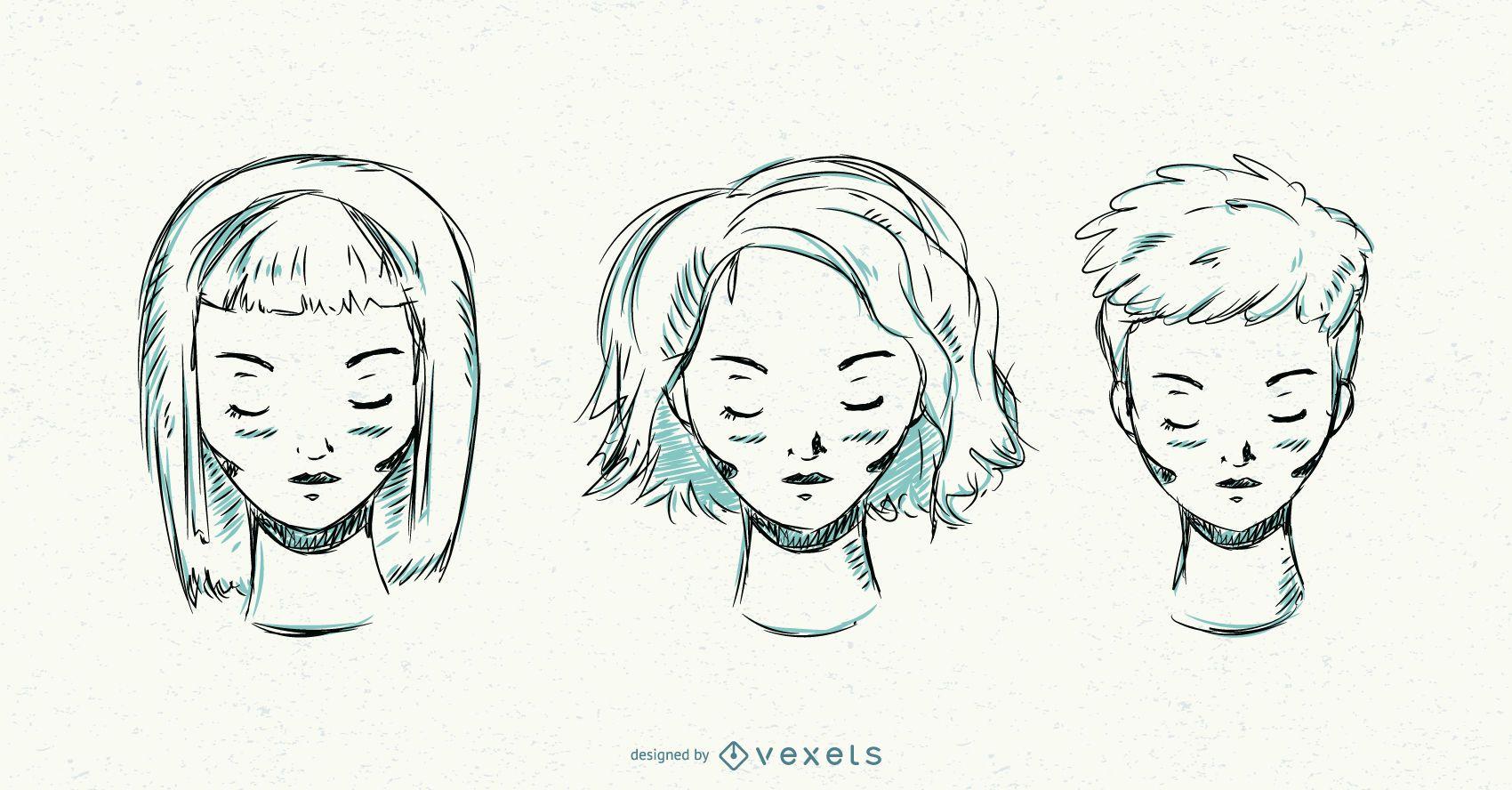 Mulheres penteado curto desenhado ? m?o