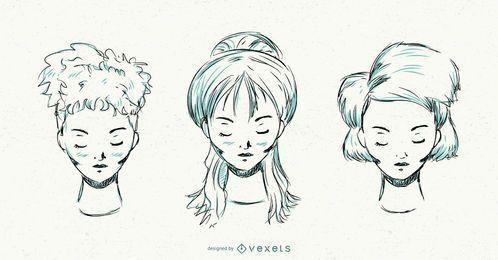 Conjunto de penteado de mão desenhada mulheres