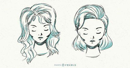 Hand gezeichnete Frisuren eingestellt