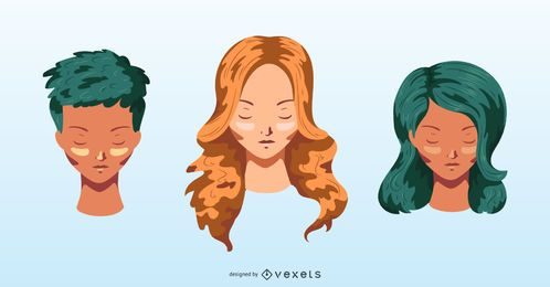 Colorful hairstyles vector set