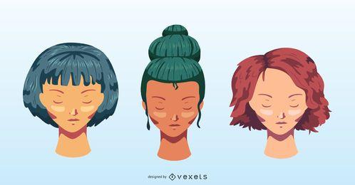 Conjunto de vectores de peinados coloreados