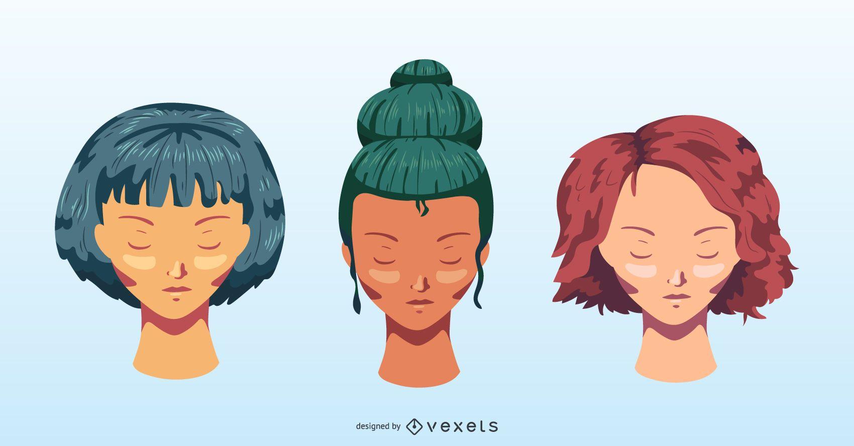 Conjunto de vectores de peinados de colores