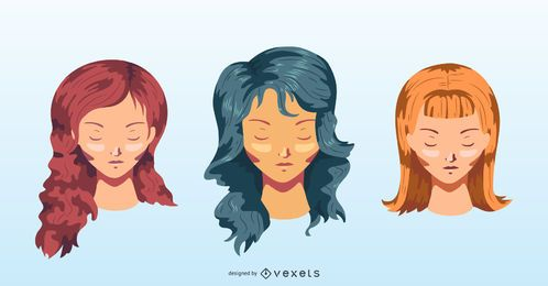 Colorful long hairstyles vector set