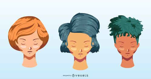 Colorful short hairstyles vector set