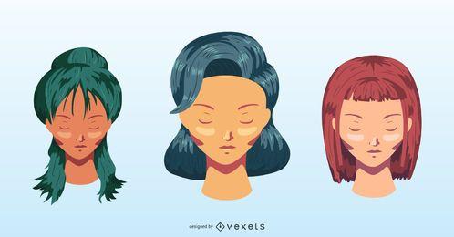 Conjunto de peinado colorido de mujer
