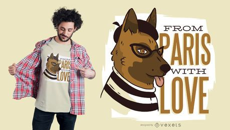 Paris dog t-shirt design