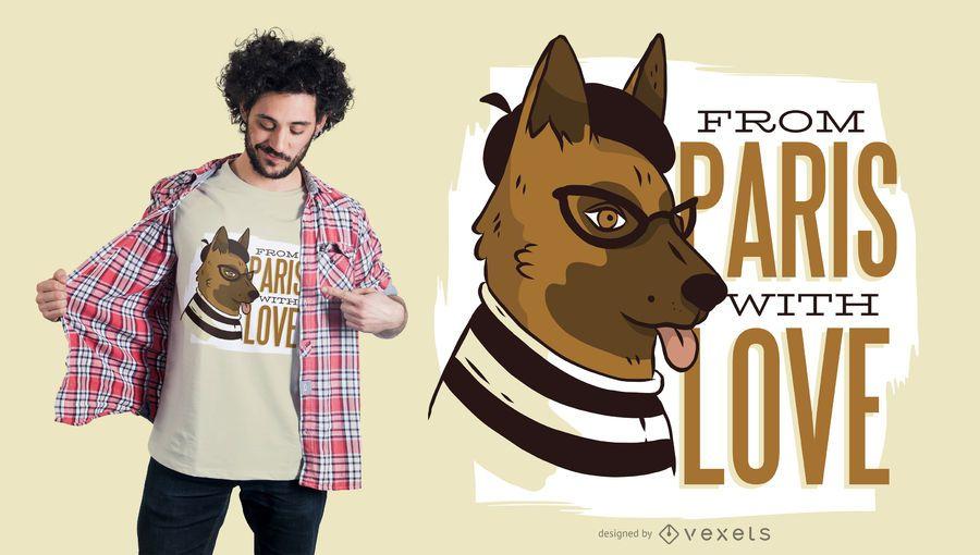 Diseño de camiseta de perro paris