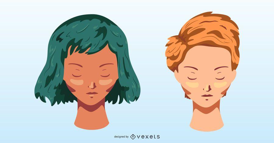 Vetor de cabeça de meninas
