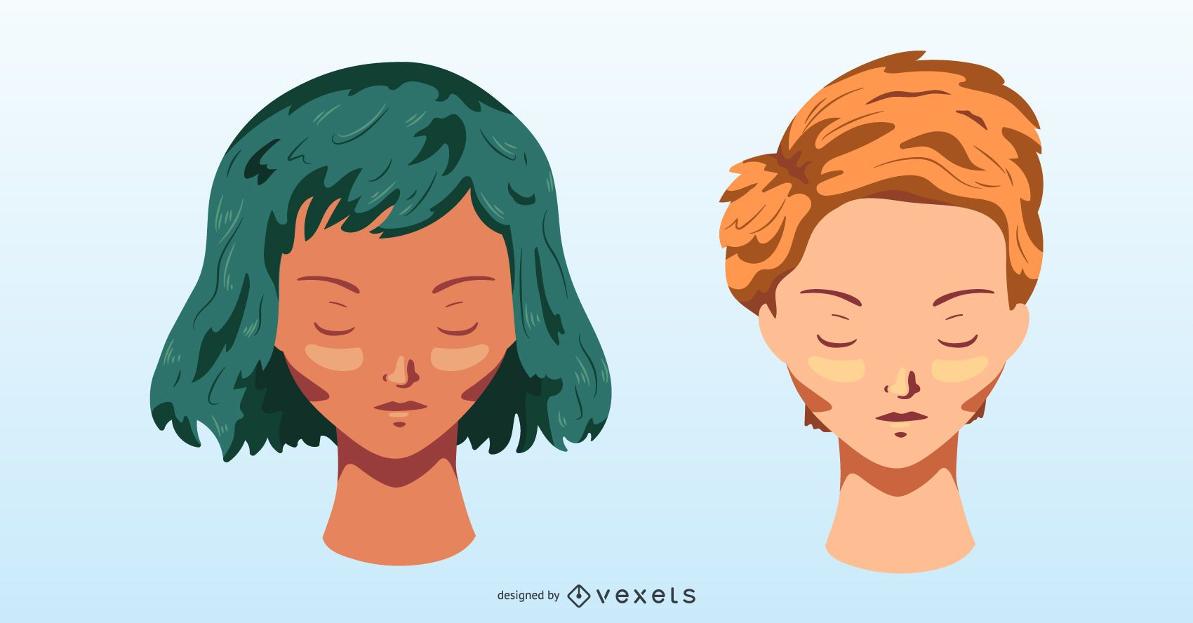 Young Girls Head Vector
