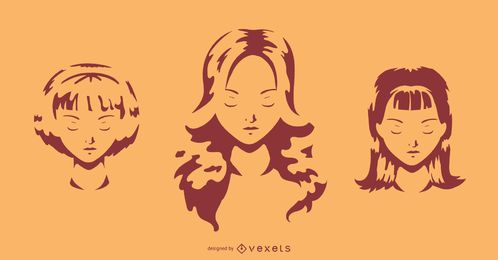 Conjunto de silueta de sombra de cara de niña