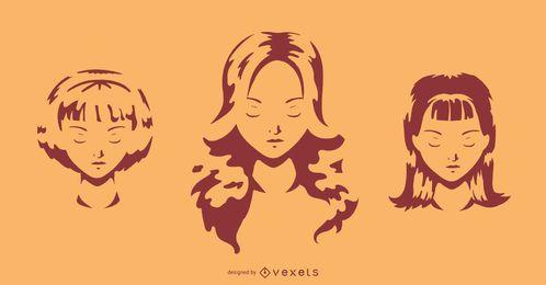 Mädchen-Gesichts-Schatten-Schattenbild-Satz