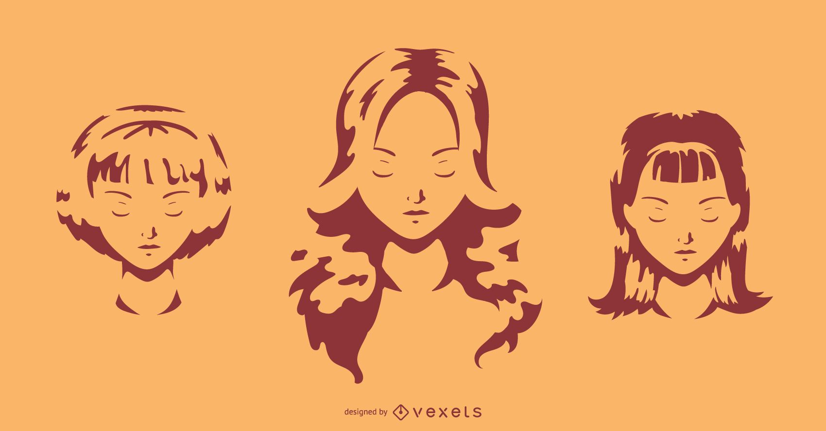 Girl Face Shadow Silhouette Set