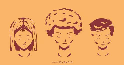 Conjunto de silhueta de estilos de cabelo curto