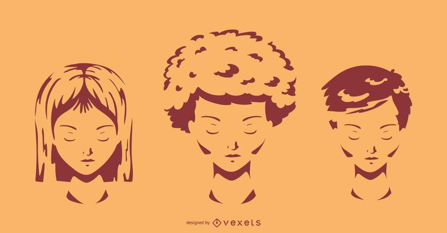 Short Hair Styles Silhouette Set