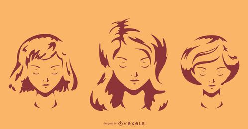 Conjunto de penteado ondulado