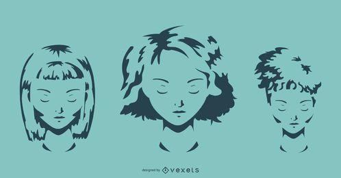 Conjunto de vetores de penteado de menina