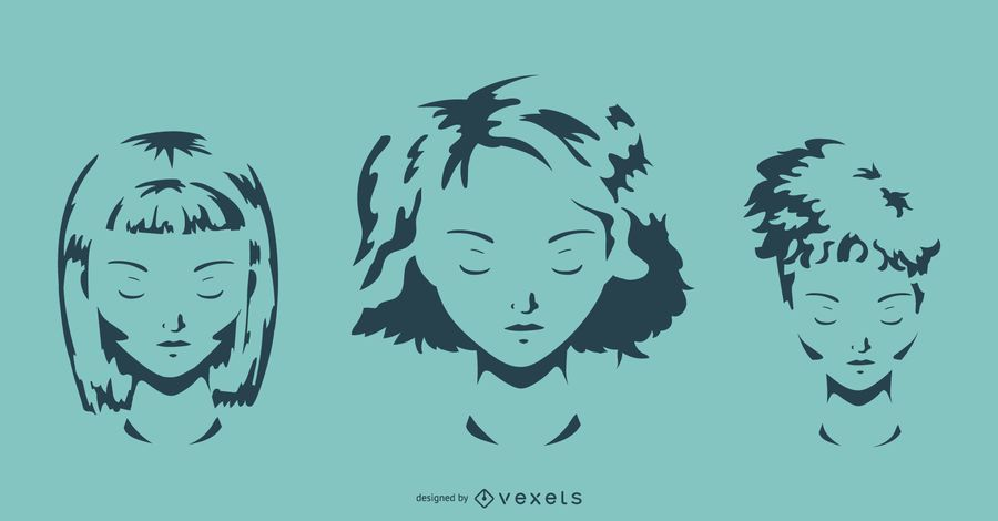 Girl Hairstyle Vector Set