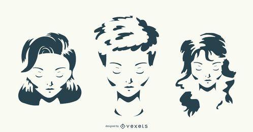 Conjunto de vectores de mujer peinado