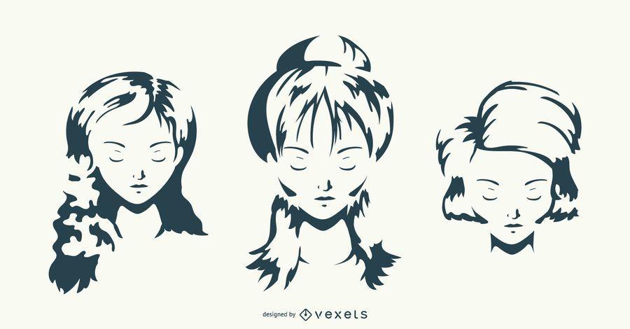 Conjunto de gráfico de vetor de penteado de mulheres