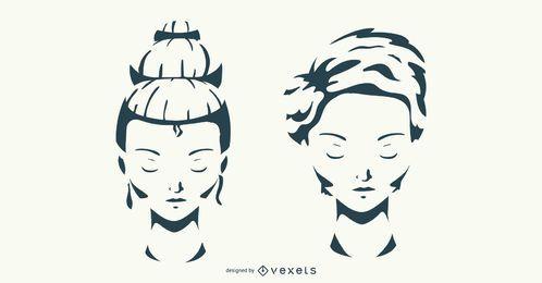 Conjunto de vectores de peinado de mujer