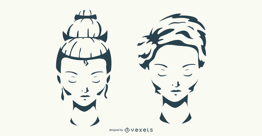 Conjunto de vetores de penteado de mulher