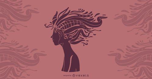 Ilustración artística del diseño del pelo
