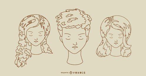 Corte de cabelo de mulheres e conjunto de estilos