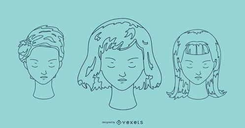 Conjunto de retrato de contorno de rostos