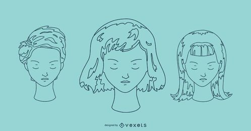 Faces outline portrait set