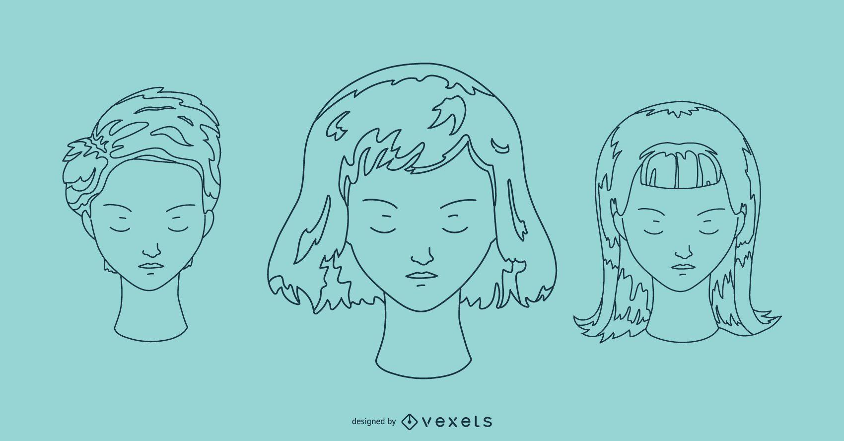 Faces outline portrait set