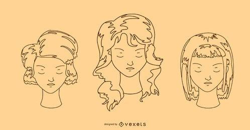 Set de diseño de peinado de mujer