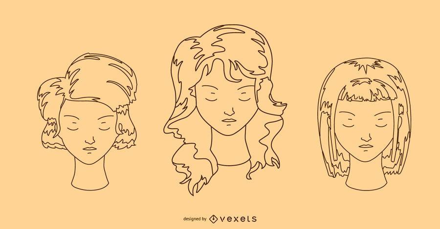 Conjunto de Design de penteado feminino