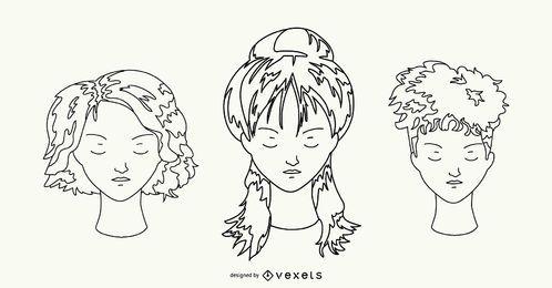Conjunto de mão desenhada de penteado