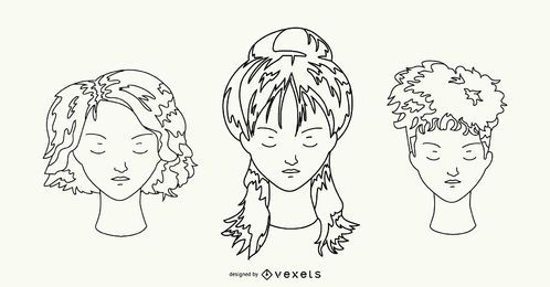 Hairstyle Hand Drawn Set